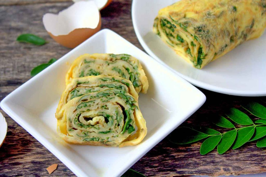 Egg Rolls With Moringa Leaves Recipe Eggs with Drumstick Leaves 1
